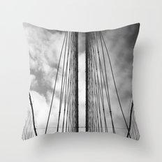 New York - Brooklyn Bridge, Black and White Throw Pillow