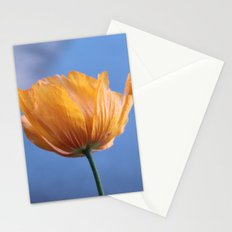 A spring wild yellow flower in blue background. Stationery Cards