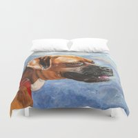 boxer Duvet Covers featuring Boxer by Good Artitude