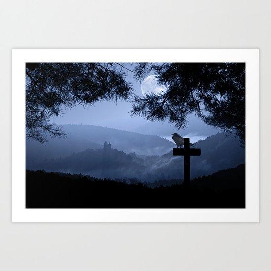 Castle in a foggy night Art Print