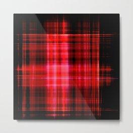 Glowing red neon plaid Metal Print