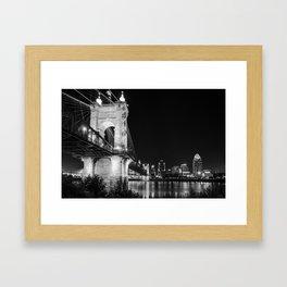 Roebling Bridge and Cincinnati Skyline at Night - Black and White Framed Art Print