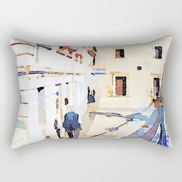 Borrello: foreshortening with man and church Rectangular Pillow