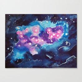 Tiny Astronaut and the Blue Nebula Canvas Print