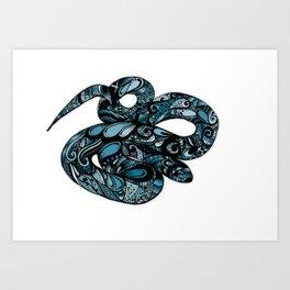 Blue Water Snake Art Print