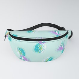 Tropical Pineapple Party Pattern - Aqua & Violet #Summervibes Fanny Pack