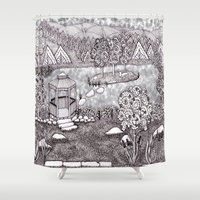 vermont Shower Curtains featuring Zentangle Vermont Mountain Pond by Vermont Greetings