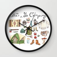 backpack Wall Clocks featuring Let's Go Camping by Brooke Weeber