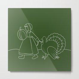 Thanksgiving Pilgrim and Turkey Metal Print