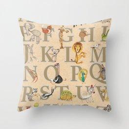 ABC Animals Throw Pillow