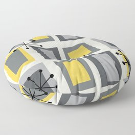 Mid Century Modern Art 'Wonky Doors' Yellow Gray Floor Pillow