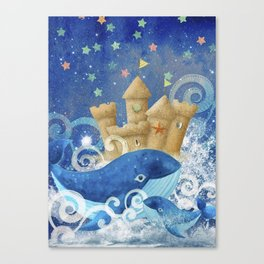 Sandcastle Waves Whales Canvas Print