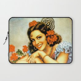Mexican Calendar Girl with Guitar by Jesus Helguera Laptop Sleeve