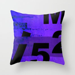 GRUNGE TECHNO V52m Typography | indigo black Throw Pillow