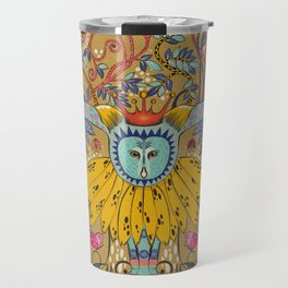 Owl in gold kingdom Travel Mug