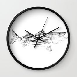 Striped Bass - Pen and Ink Illustration Wall Clock