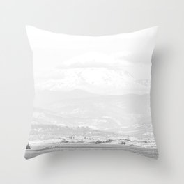 Lake to Peak // White Out Fog Mountain View Oregon Landscape Photograph Throw Pillow