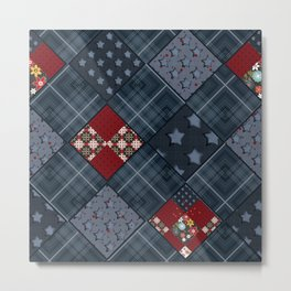 Dark blue -denim- patchwork Metal Print