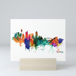 Sydney watercolor skyline Mini Art Print