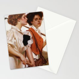 Maidens Playing Golf And Tennis - Digital Remastered Edition Stationery Cards