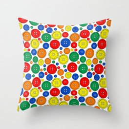 colorful scattered buttons Throw Pillow