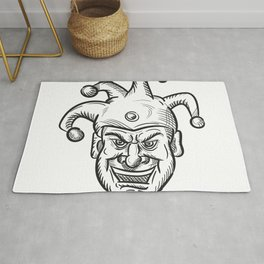 Crazy Medieval Court Jester Drawing Rug