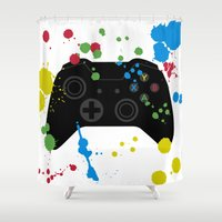 xbox Shower Curtains featuring Controller Graffiti XBox One by AngoldArts
