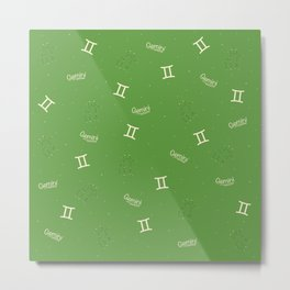 Gemini Pattern - Green Metal Print