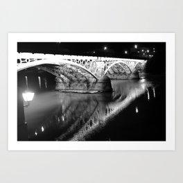 Black white bridge night photography Art Print