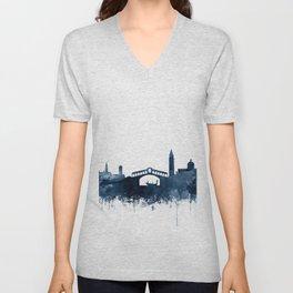 Venice Skyline Watercolor Navy Blue by Zouzounio Art Unisex V-Neck