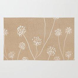 Dandelions flowers illustration on beige kraft Rug