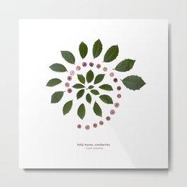 nature mandala... holly leaves, cranberries Metal Print