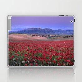 Big Fields Of Poppies. At Purple Sunset. Sierra Arana And Sierra Nevada Laptop & iPad Skin