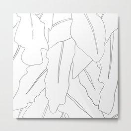 Minimal Line Drawing Leaves Metal Print