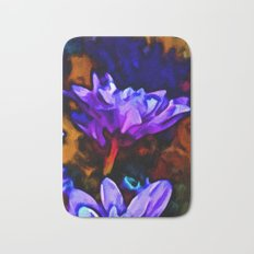 Lavender and Cobalt Blue Flower with some Brown Bath Mat