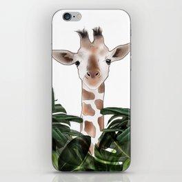 Giraffe above the trees iPhone Skin