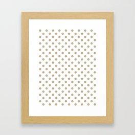 Small Polka Dots - Khaki Brown on White Framed Art Print