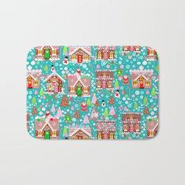 Christmas Gingerbread House Candy Village Bath Mat
