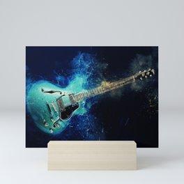 Electric Blue Guitar Mini Art Print
