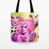 jem Tote Bags featuring JEM , Pizazz and Riot by Magenta Arts Studio