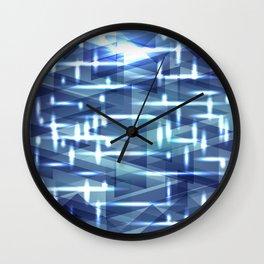 Bright cosmic luminous sky blue triangles. Wall Clock