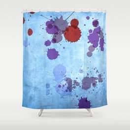 Abstract Indian Sky Blue Splash Shower Curtain