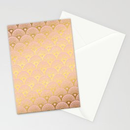 Gold and pink sparkling Mermaid pattern Stationery Cards