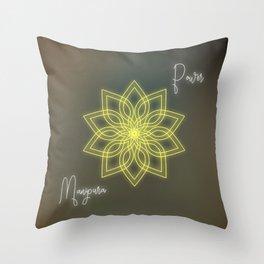 Solar plexus chakra balancing mandala Throw Pillow