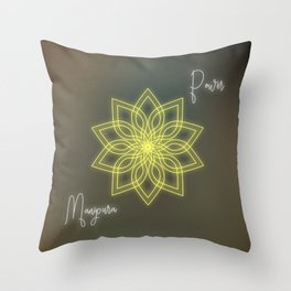 Solar plexus chakra balancing mandala Throw Pillow