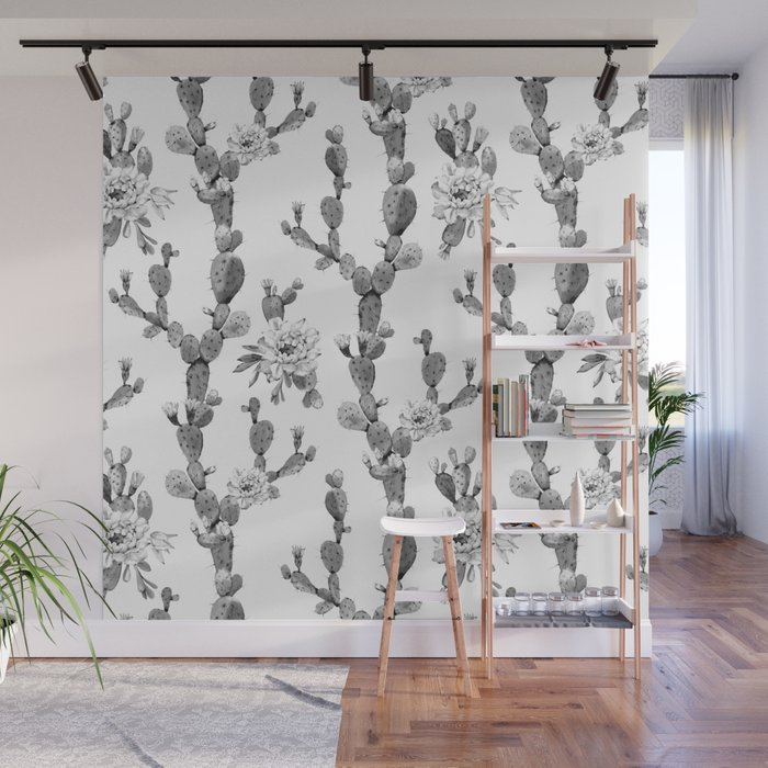 Cactus Rose Garden Stripe Black and White Wall Mural