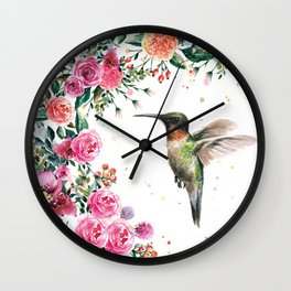Hummingbird and Flowers Watercolor Animals Wall Clock