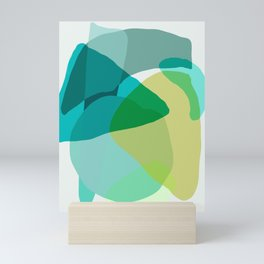 Shapes and Layers no.17 - Abstract Painting in Greens and Blues Mini Art Print