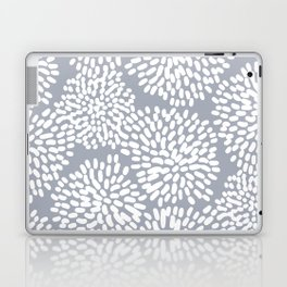 Grey and White Abstract Firework Flowers Laptop & iPad Skin