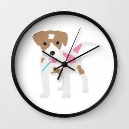Dog Licking a Pink Lollipop Wall Clock